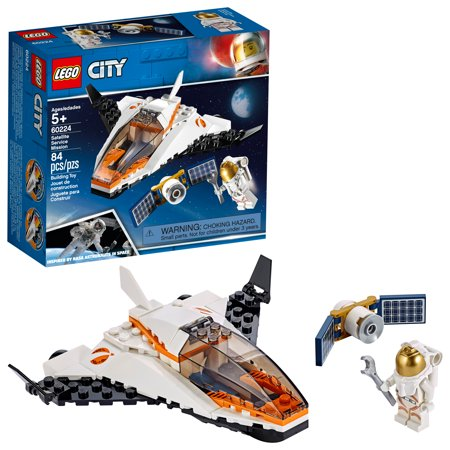 LEGO City Space Satellite Service Mission 60224 Space Shuttle Toy (84 Pieces) (Rubber Shuttle)