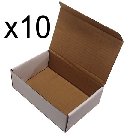 (10) Corrugated Cardboard Mailers 6 x 4 x 2 Inches Tuck Top One-Piece Die-Cut Shipping Cartons Small White Mailing Boxes - Round Cardboard Boxes