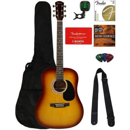 fender squier dreadnought acoustic guitar sunburst bundle with fender play online lessons gig. Black Bedroom Furniture Sets. Home Design Ideas