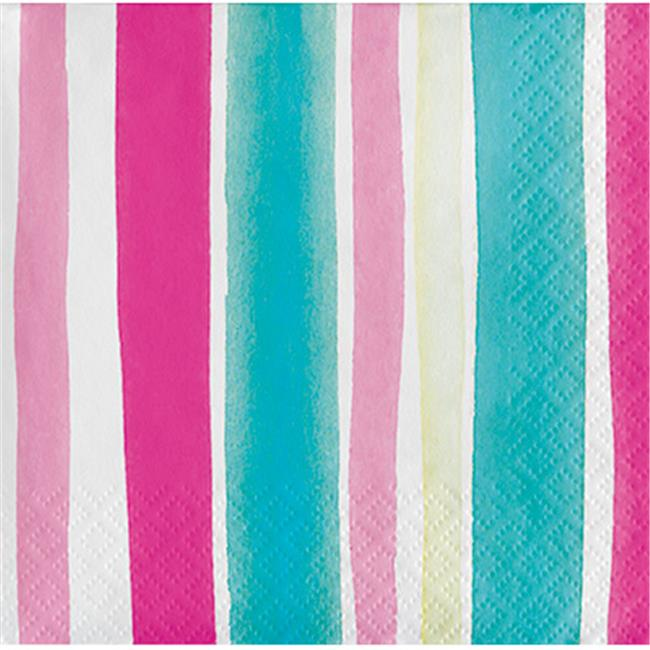 Group  3 Ply Tropical Stripes Beverage Napkin with Stripes, Pack of 12 - 24 per Pack