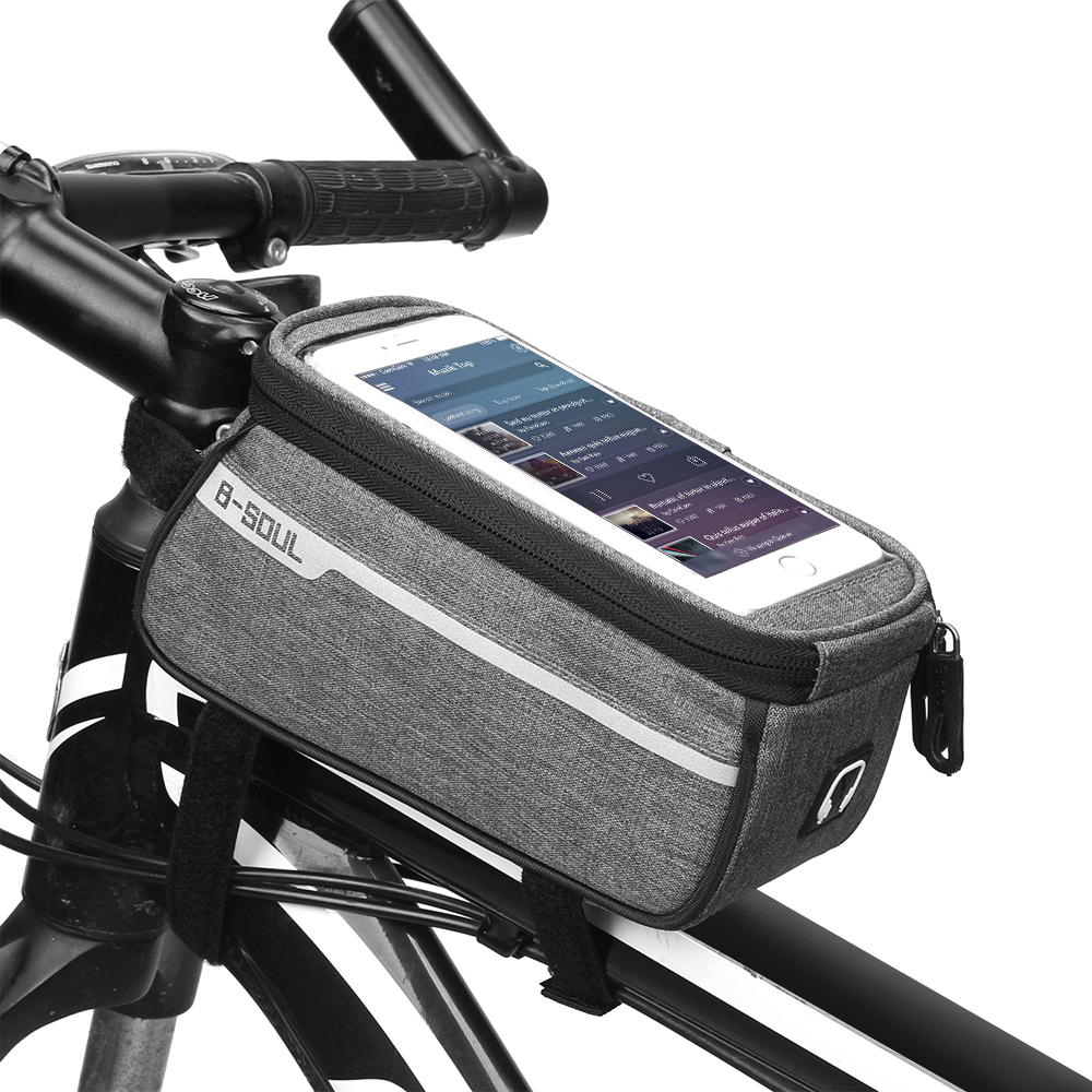 """MTB Bicycle Top Tube Phone Bag for 6"""" Screen Size Bike Front Frame Bag with Headphone Hole"""