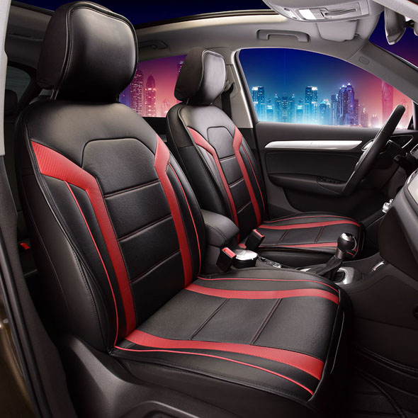 FH Group Half Set Futuristic Leatherette Red and Black Front Seat Cushions