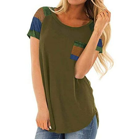 Womens Summer Weight (LELINTA Womens Summer Tops Striped Color Block T-Shirts Casual Blouses Lightweight Short Sleeve Tunic)