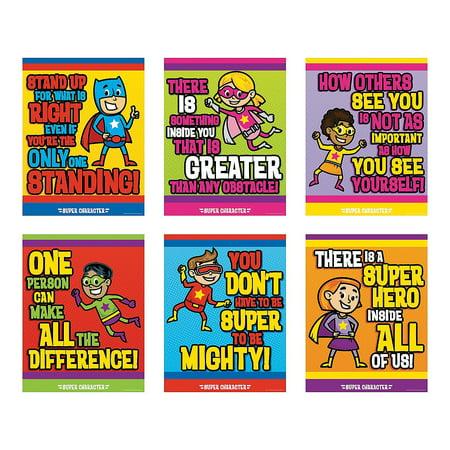 Fun Express - Superhero Character Poster Set - Educational - Classroom Decorations - Classroom Decor - 6 - Superhero Themed Classroom