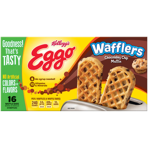 Kellogg's Eggo Wafflers Chocolatey Chip Muffin Waffle Bars, 8 count, 10.7 oz