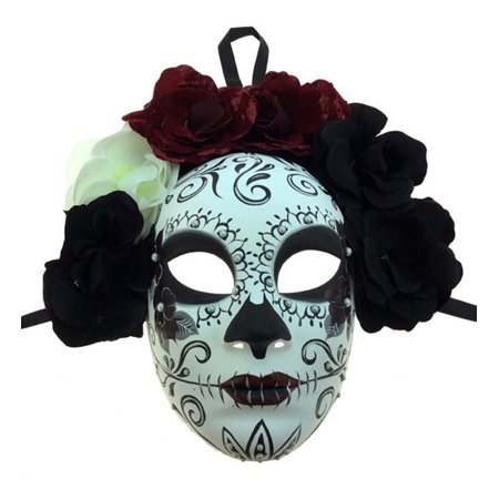 KBW Adult Unisex Female Day of Dead Full Face Mask with Rose Flower Crown, Sugar Skull Multicolored One Size Mexican Spanish Tradition Halloween Costume Accessory Novelty Costume Accessories (Cute Halloween Traditions)