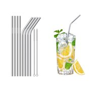 Set of 8 Stainless Steel Straws Ultra Long 8.5 Inch Drinking Metal Straws For Tumblers Cold Beverage (4 Straight 4 Bent 2 Brush)