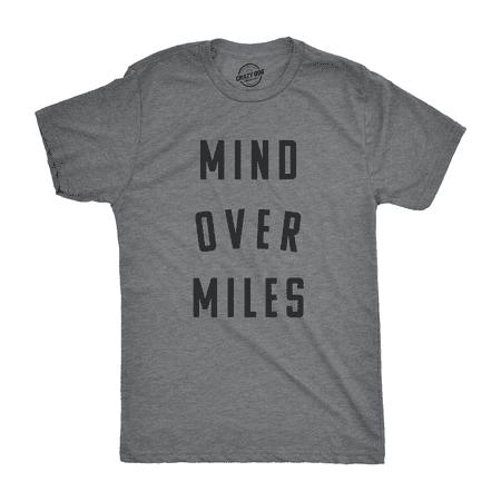 Mens Mind Over Miles Tshirt Funny Cute Marathon Running 5K Tee For (Marathon Running Shirts)