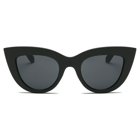 Vintage Retro Cat Eye Sunglasses Women Big Frame Sun Glasses Black ladies Sunglass Wrap Eyewear oculos Modified (Best Sunglass Shape For Oval Face)