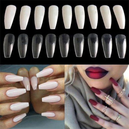 ZeAofa Long Art Tips Coffin Shape Full Cover False Ballerina Nails Emulational Tool - Coffin Shape