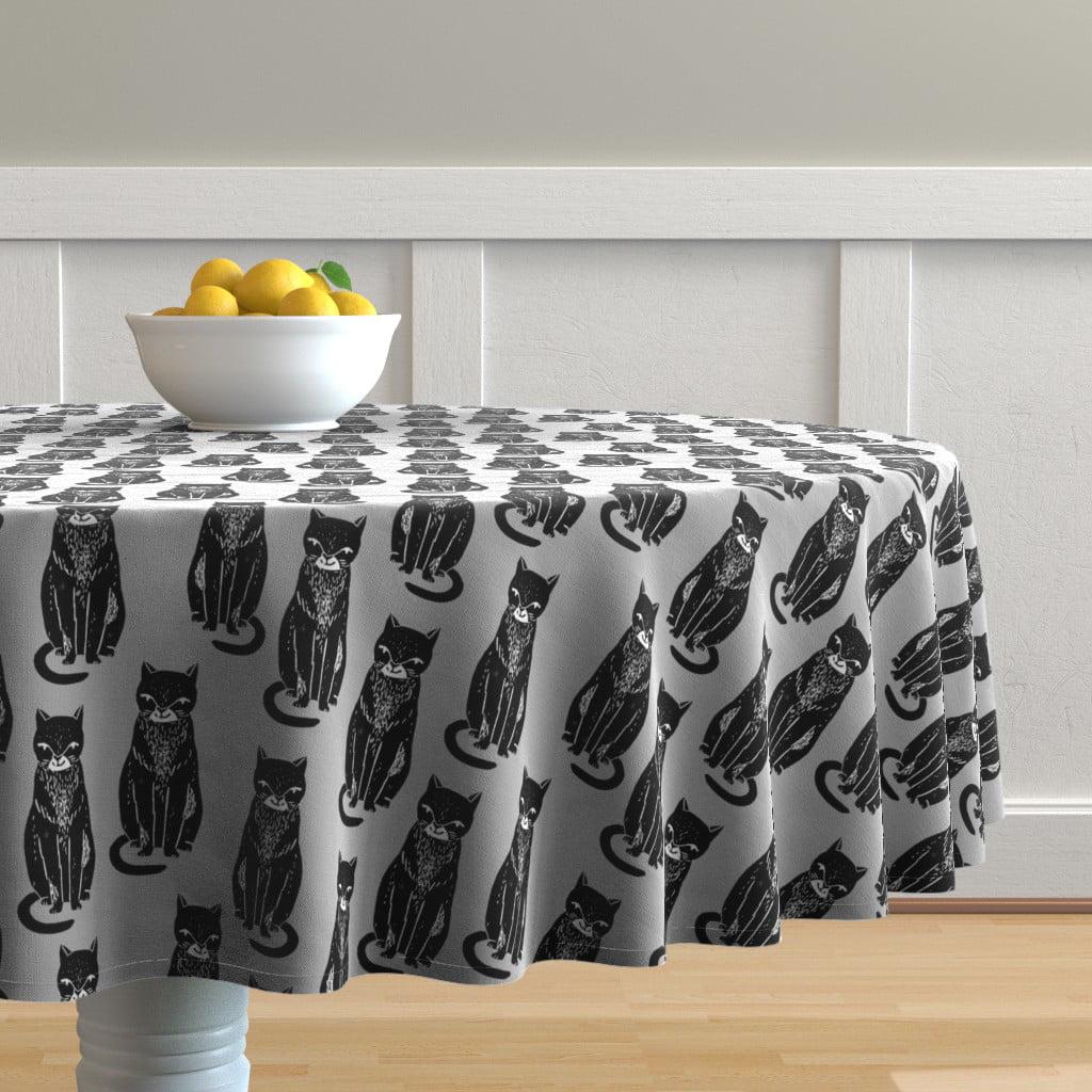 Linen Tablecloth Halloween Cats