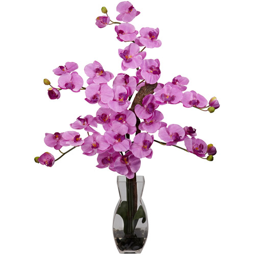 Phalaenopsis with Vase Silk Flower Arrangement, Mauve