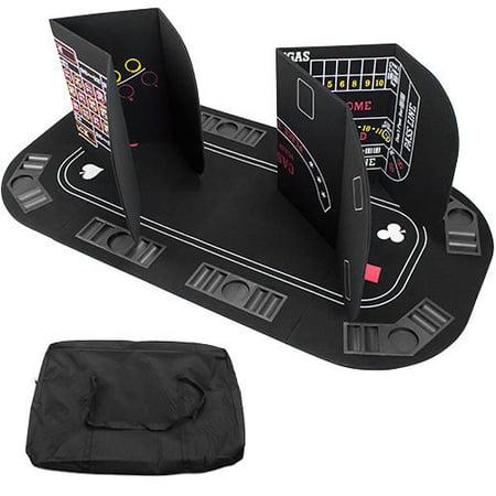 Premium Craps Table - Brybelly 5-in-1 Poker, Blackjack, Craps, Roulette, Baccarat Folding Tabletop
