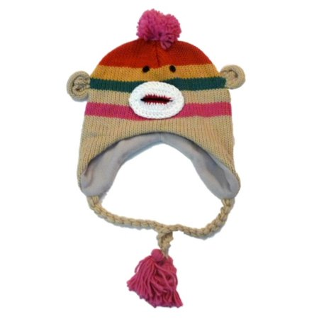 Manhattan Hat Company Womens Pink Striped Sock Monkey Peruvian Hat Pom Trapper - Rainbow Sock Monkey Hat