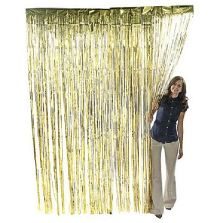 Gold Party Decor (Gold Metallic Fringe Curtain Party Room Decor 3' x)