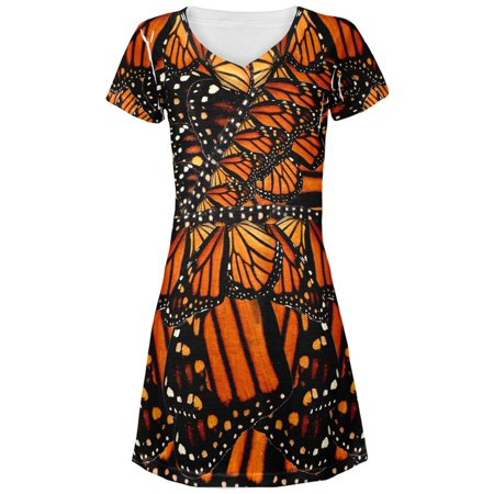 Monarch Butterfly Costume All Over Juniors V-Neck Dress (Monarch Butterfly Dress For Sale)