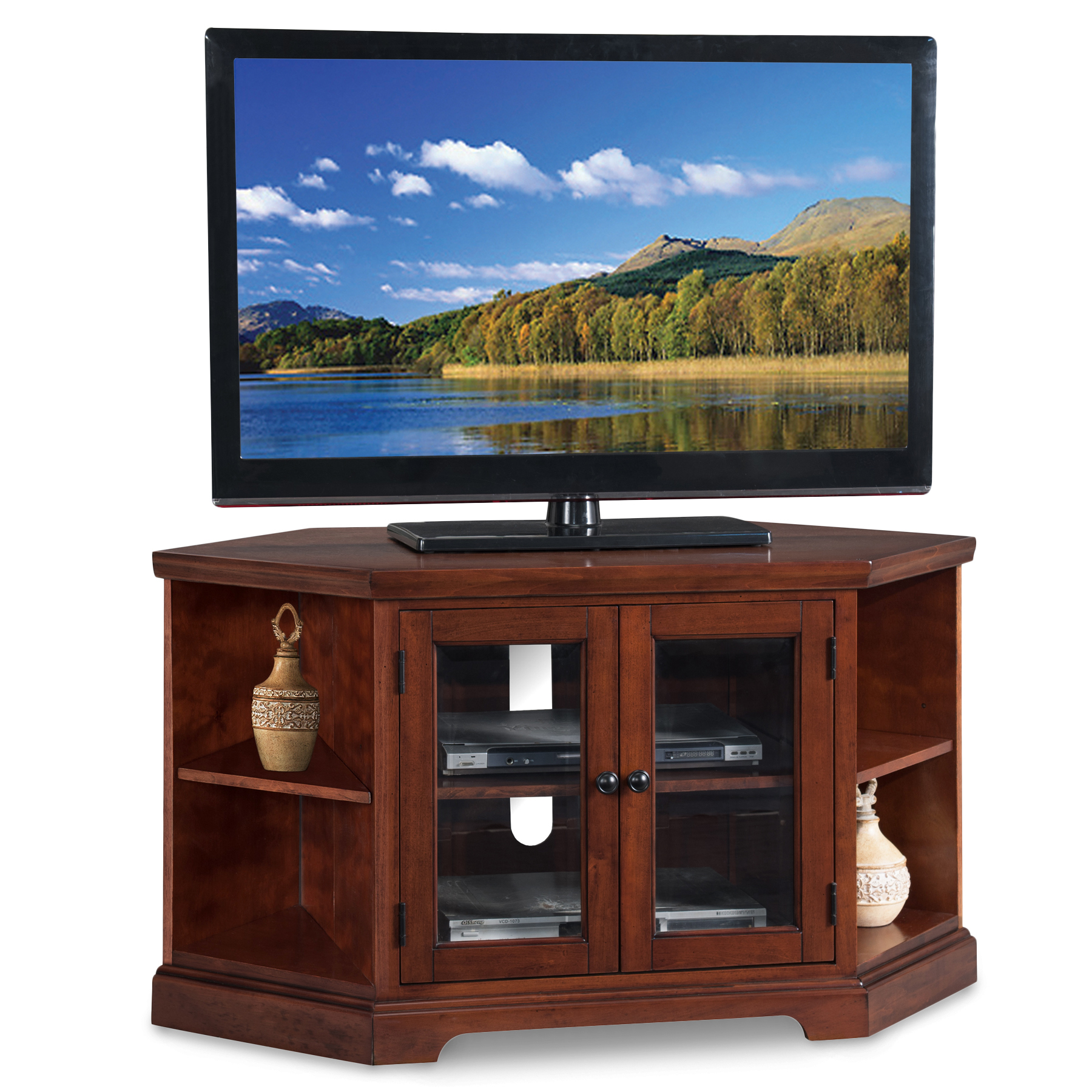 Leick Home Westwood 46 Corner Tv Stand W Bookcases For Tv S Up To