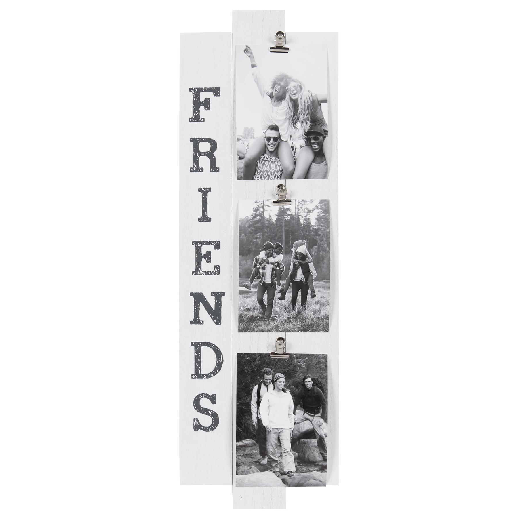 "Better Homes & Gardens 7"" x 22"" Friends Clip Collage, White Slat"