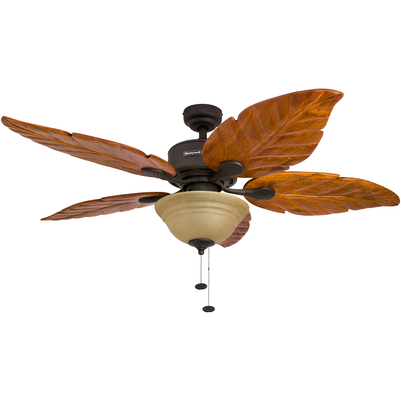 "52"" Honeywell Sabal Palm Bronze Ceiling Fan with Bowl Light and Hand-Carved Wood"