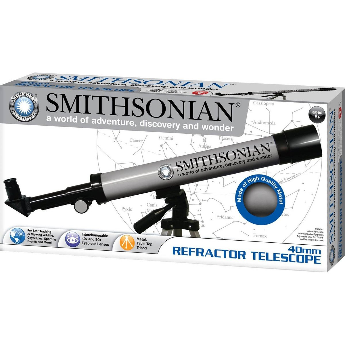 Smithsonian Refractor Telescope With Tripod by