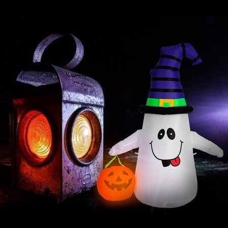 Halloween Pumpkin Carriage Inflatable (Halloween Inflatable LED Lighted White Ghost with Pumpkin Lantern Blow up Outdoor Yard Decoration)