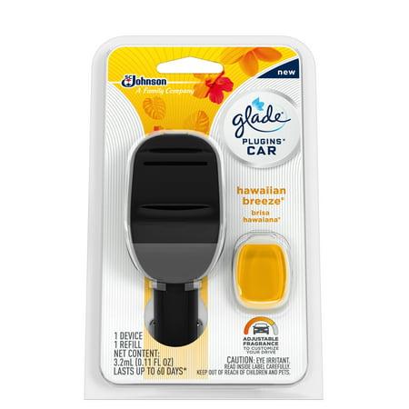 Glade PlugIns Car Air Freshener Starter Kit, Hawaiian Breeze, 0.11 fl