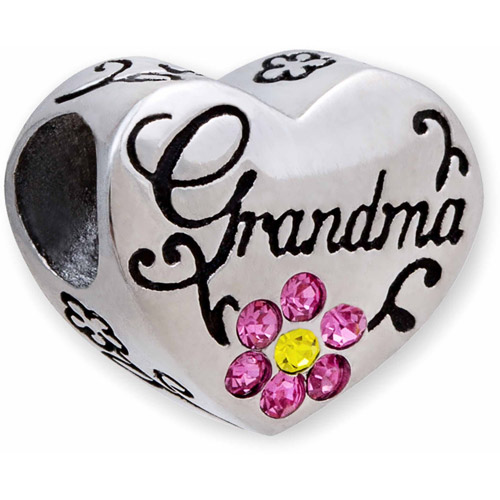Connections from Hallmark Stainless Steel Grandma Crystal Heart Charm