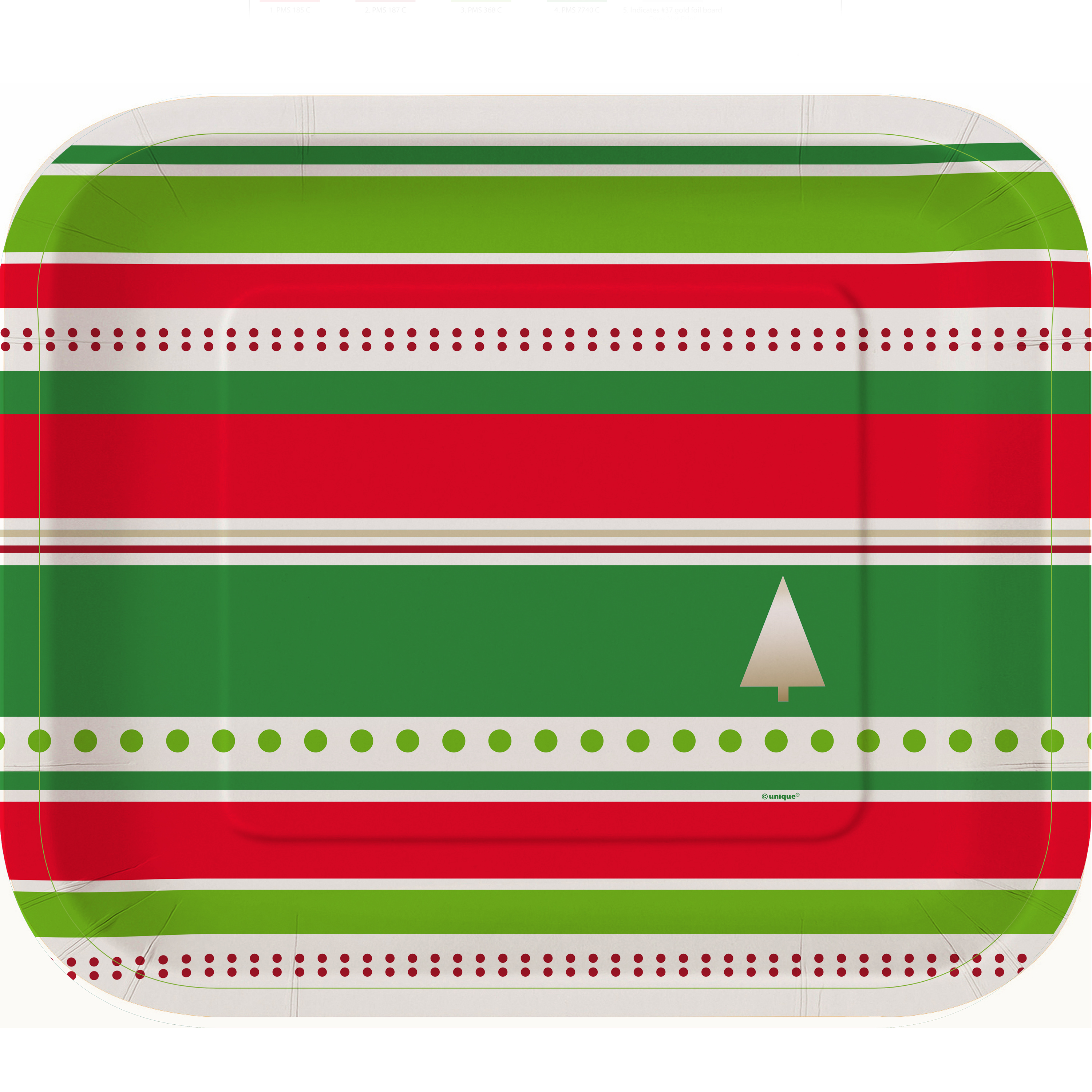 rectangular foil gold chic christmas tree party plates 10ct