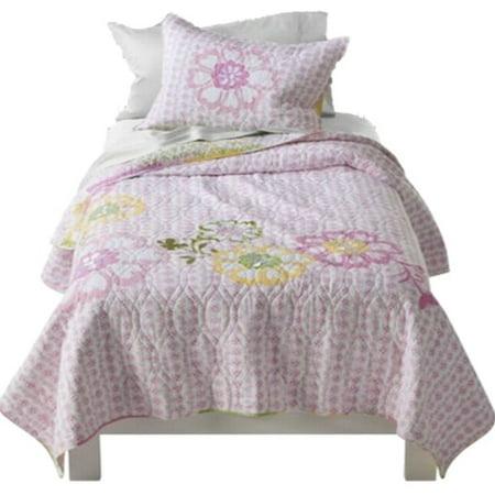 Mud Hut Pink Jasmine Floral Applique Full Queen Quilt & Shams Set -