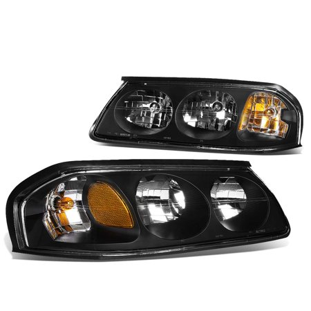 For 2000 to 2005 Chevy Impala 8th Gen Pair of Headlight Black Housing Amber Corner Headlamp 01 02 03 04 Left+Right