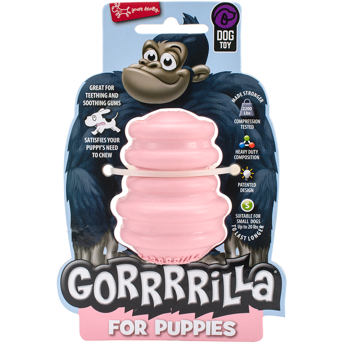 "Multipet Gorrrrilla Tough Rubber Treat Toy For Puppies 2.5""-Pink"