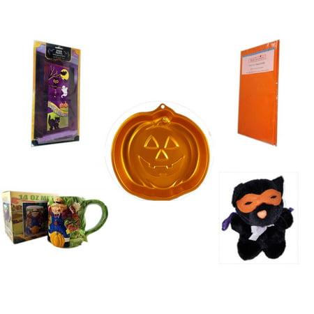 Halloween Fun Gift Bundle [5 Piece] - Happy  Door Panel - Bright Pumpkin Orange Plastic Table Cover  - Wilton Iridescents Jack-O-Lantern Pan - Earthenware Scarecrow & Harvest Design Mug 14 oz. - Man