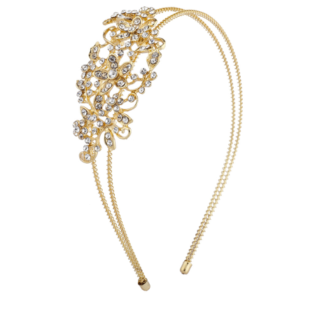 Lux Accessories Gold Tone Crystal Pave Rhinestone Floral Coil Headband