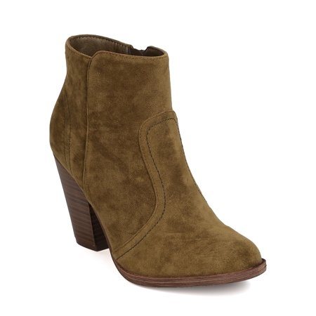 Tan Suede Shoes - Breckelles BG23 Women Suede Womens Round Toe Chunky Heel Riding Ankle Bootie