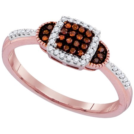 10kt Rose Gold Womens Round Red Color Enhanced Diamond Square Cluster Ring 1/5 Cttw