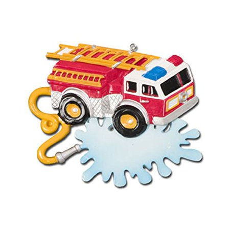 1 X Personalized Christmas Ornament Fire Truck with Banner, Each Personalized Christmas Ornament includes a ribbon loop and comes in box. By Polar (Polar Loop Best Price)