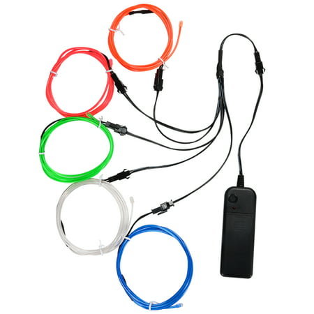 EL Wire Kit,Portable Neon Lights for Parties, Halloween, Blacklight Run, DIY Decoration (Red, Green, Pink, Blue, White)