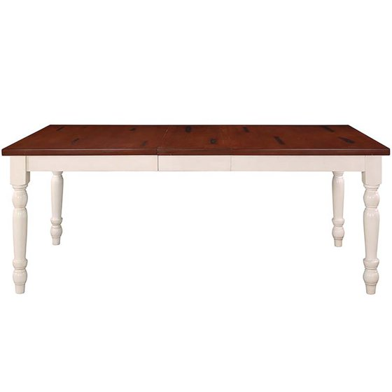 Walker Edison 60 Wood Turned Leg Dining Table In Brown And White