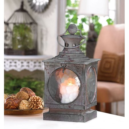 Metal Square Hanging Candle Lantern, Curved Glass Insert ()