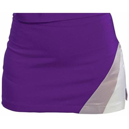 Pizzazz US125 -PURWHT-AXL US125 Adult Premier Tumble Uniform Skirt, Purple with White - Extra Large - image 1 of 1