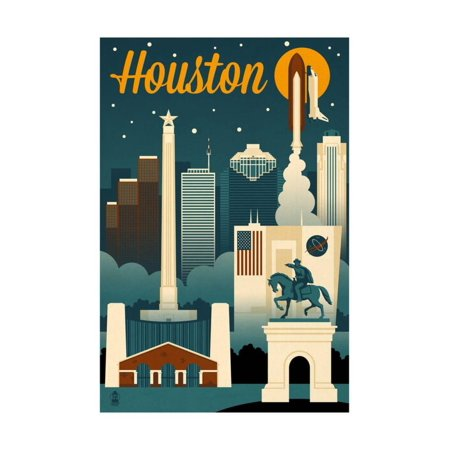Halloween Decorations Houston Texas (Houston, Texas - Retro Skyline Print Wall Art By Lantern)