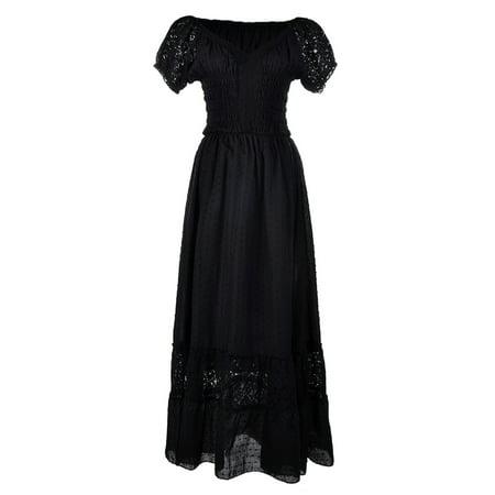 Anna-Kaci Peasant Maiden Boho Inspired Cap Sleeve Lace Trim Maxi Dress, Black... - Belle Peasant Dress