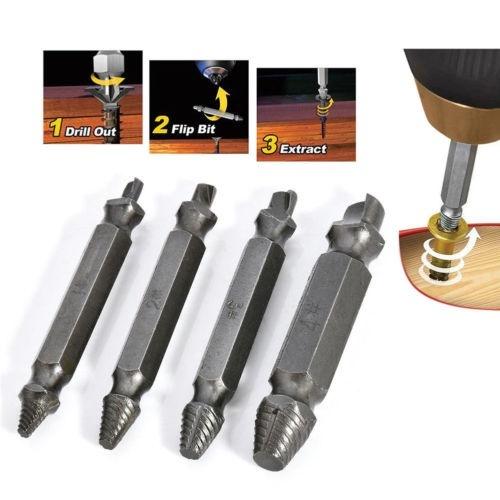 4 Piece Broken Bolt Damage Screw Remover Extractor Drill Bits Stud Reverse Set A