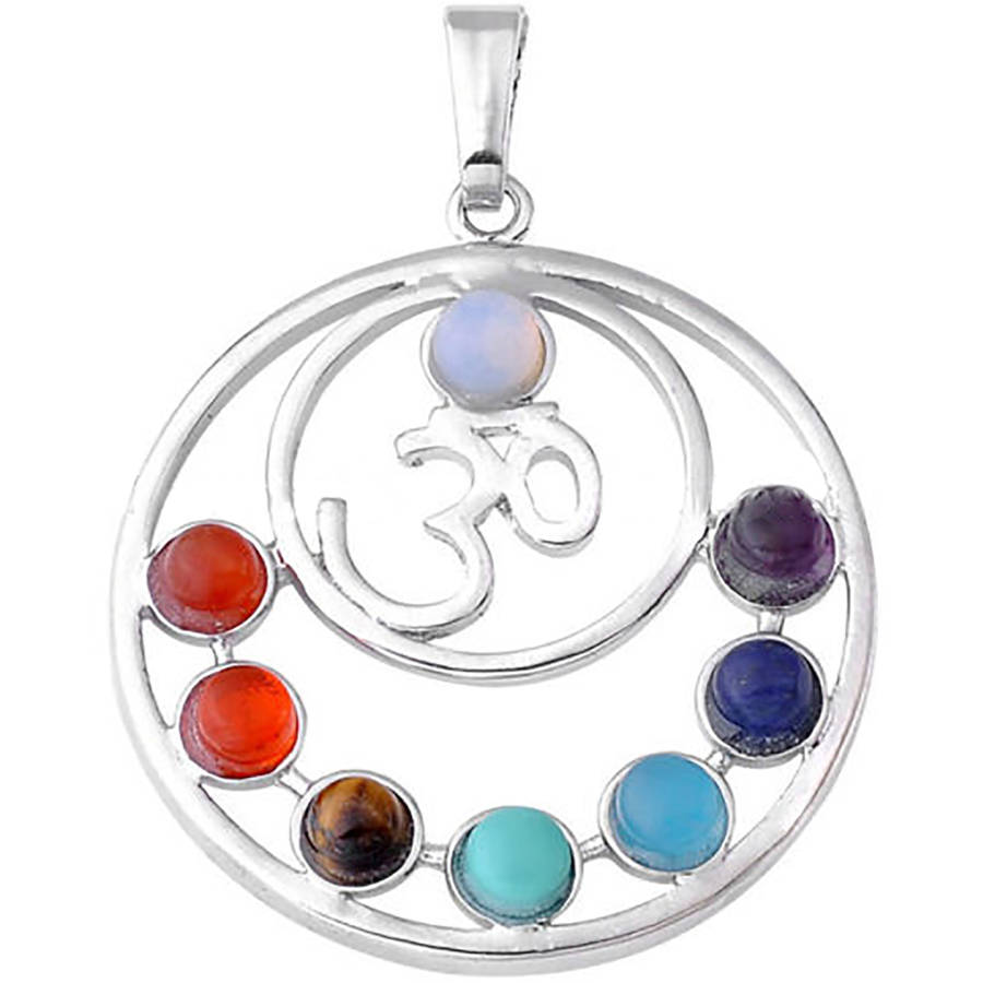 7-Stone Chakra Healing Point Rieki Bead Gemstone Pendant Fit Necklace OM Symbol Disk by Donna Bella, QNE31801