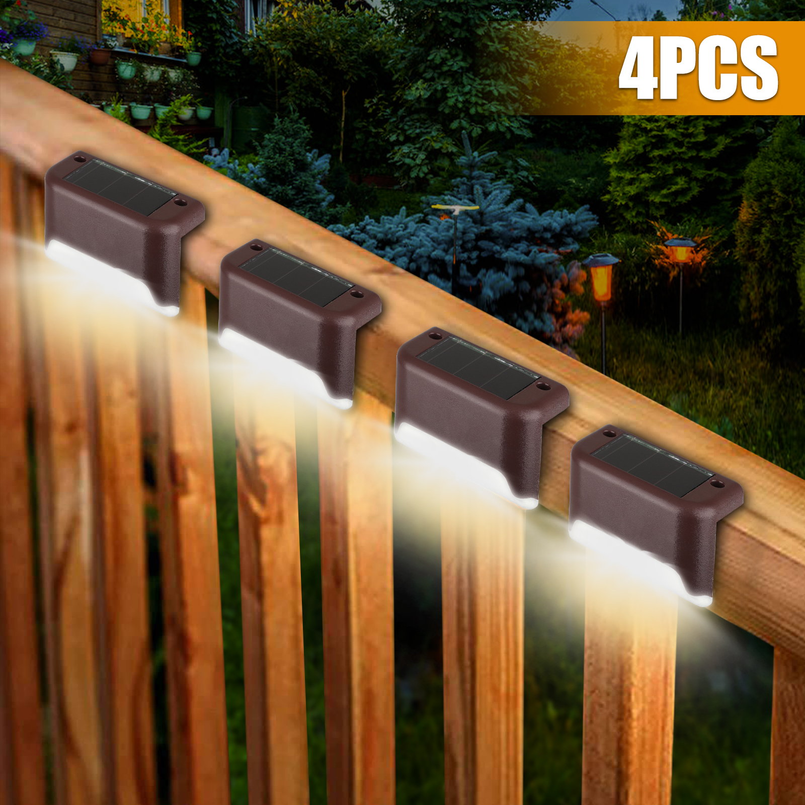 12 Solar Powered LED Garden Outdoor Fence Lights Wall Patio Decking Lighting