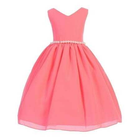 Girls Neon Pink Wool Dobby V-neck Pearl Waist Junior Bridesmaid Dress