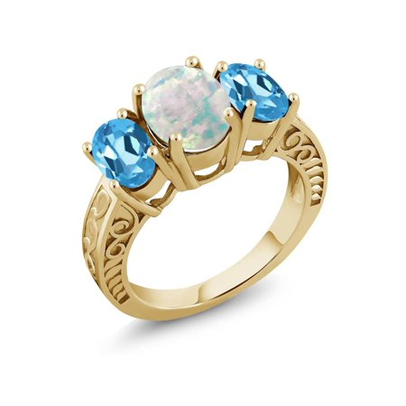 2.50 Ct White Simulated Opal Swiss Blue Topaz 18K Yellow Gold Plated Silver Ring 18k Yellow Gold Swiss