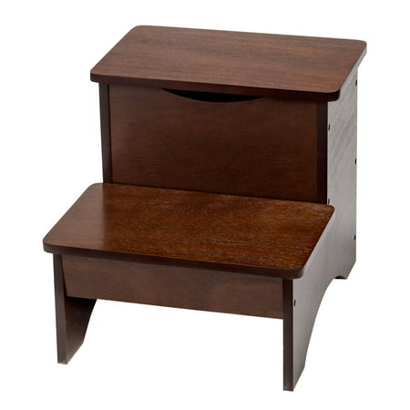 2 Step Wooden Step Stool With Hidden Storage By Oakridge