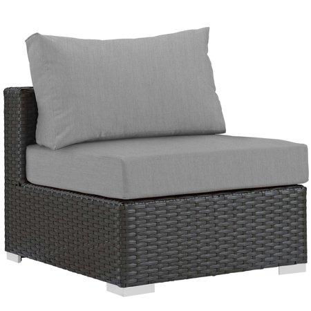 Modern Contemporary Urban Design Outdoor Patio Balcony Garden Furniture Sofa Middle Chair, Sunbrella Rattan Wicker, Grey Gray ()