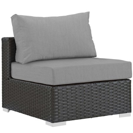 Modern Contemporary Urban Design Outdoor Patio Balcony Garden Furniture Sofa Middle Chair, Sunbrella Rattan Wicker, Grey Gray